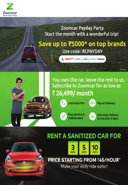Cars, motorcycles & spares offers in the Zoomcar catalogue in Delhi ( Expires tomorrow )