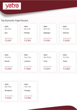Offers of Top in Yatra Domestic Flight