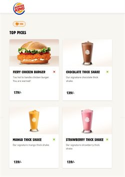 Offers of Top in Burger King