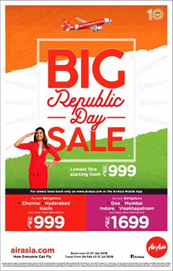 Offers from Air Asia in the Delhi leaflet