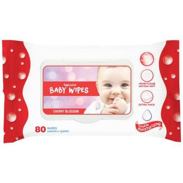 Bigbasket Baby Wipes - Cherry Blossom, No Paraben, Double Moisturizing offer at ? 95