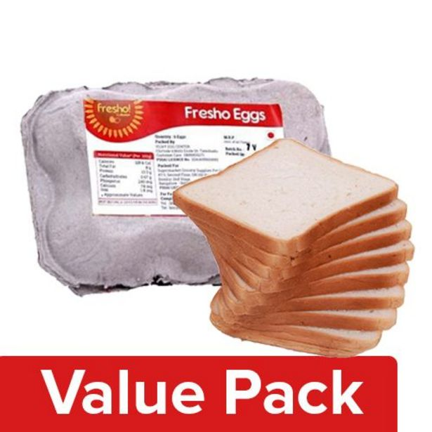 Fresho Sandwich Bread - White, Chemical Free 400G + Eggs - Regular 6pcs offer at ? 83