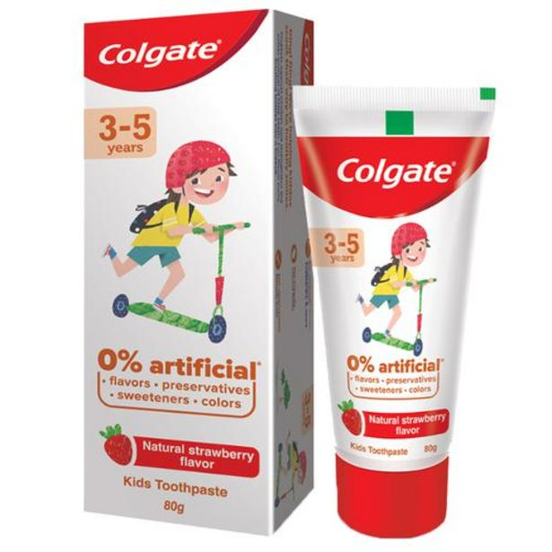 Colgate Kid's Toothpaste - 3-5 years, Natural Strawberry Flavour, 0% Artificial offer at ? 135