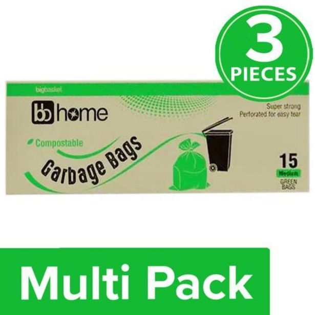 BB Home Compostable Garbage Bag-Medium Green (19x21 Inches) offer at ? 331.5