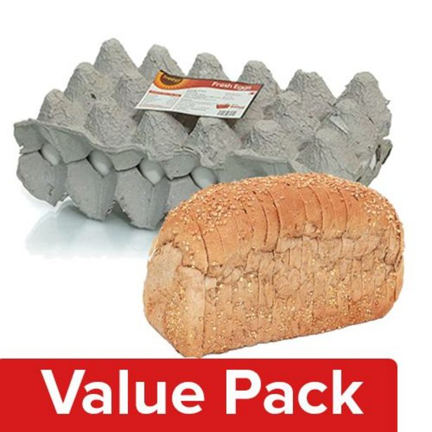 Fresho Bread - Whole Wheat, Chemical Free 400G + Eggs - Table Tray 12pcs offer at ? 136.05