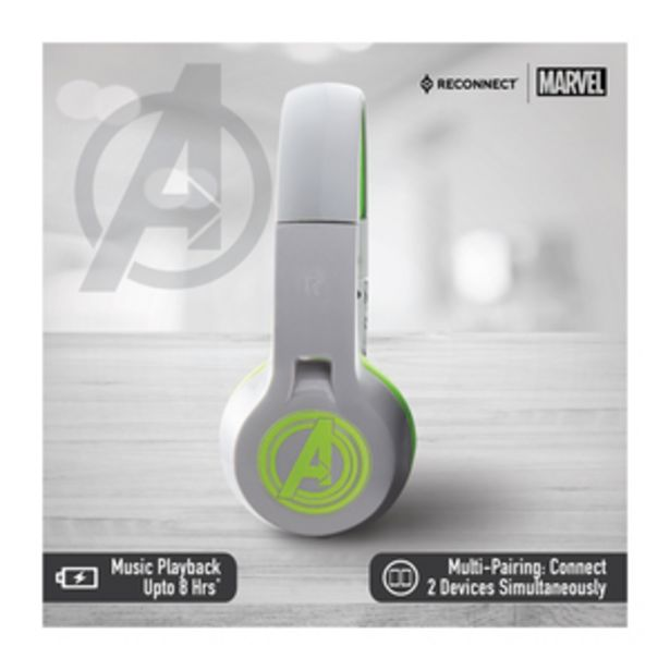 Reconnect Marvel Avengers Over the ear foldable Wireless Headphonewith built in mic, Sweat resistant, 8hrs playtime, multipairing tech, Trendy Design, with Siri/Alexa/GoogleOk - DBTH101 AV offer at ? 599