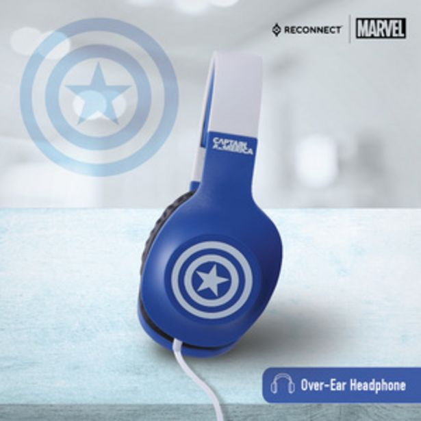 Reconnect Marvel Captain America Sound Suit Kids Edition, Wired Headphone Over Ear, Sweat resistant, Over ear headphone, in line mic with 1.2m long cable, Siri/Alexa/GoogleOk compatible, Personal a... offer at ? 699