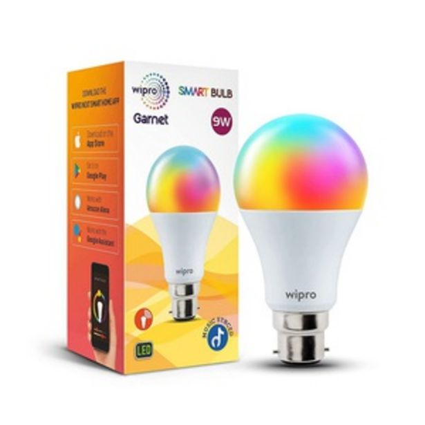 Wipro 9 Watts B22 Wi-Fi Smart LED Bulb with 16 Million Colours, Music Sync, Amazon Alexa and Google Assistant, NS9400 offer at ? 699