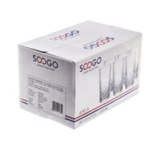 Soogo Aria Water Glass Set of 6- 260ml offer at ? 399