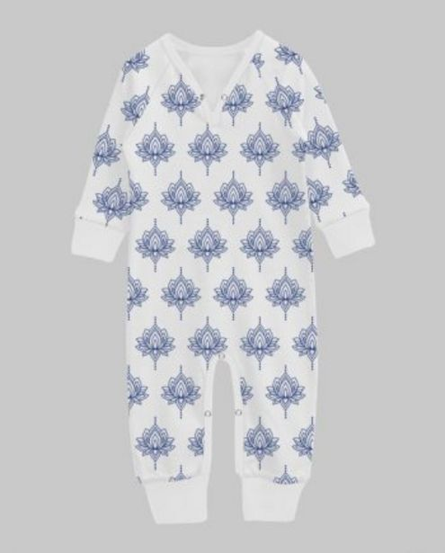Navy Medieval Lotus Print Playsuit With White Binding offer at ? 400