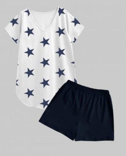 Navy Star V-Neck Tee with Navy Shorts 2 PC Set offer at ? 799