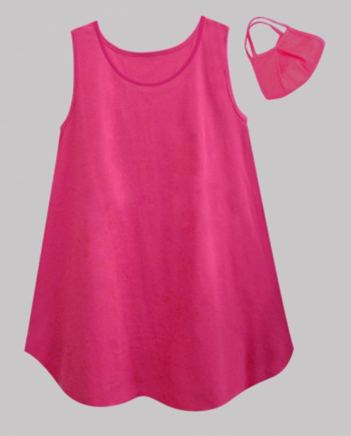 Fuchsia Jersey Women's Round Neck Caper Tunic with Facemask offer at ? 549