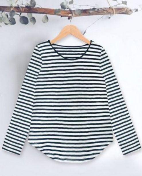 Navy Bengal Stripe Round Neck Long Sleeves Women's T-shirt offer at ? 499