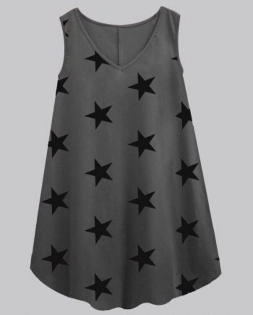 Charcoal Grey With Black Star V-Neck Women's Caper Tunic offer at ? 449