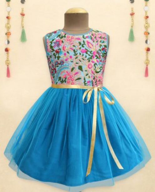 Turquoise Fresh Bloom Embroidered Tulle Overlay Dress offer at ? 800