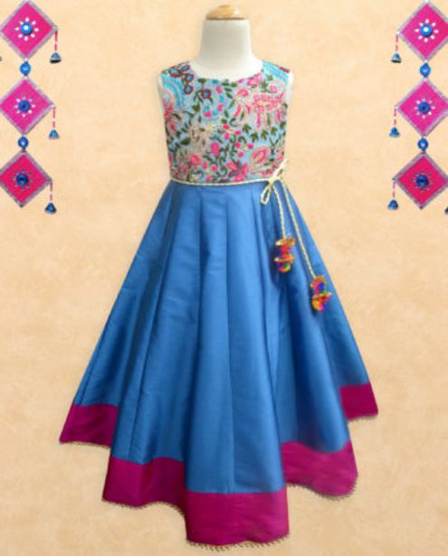 Fresh Bloom Embroidered Turquoise-Fuschia Anarkali Gown offer at ? 1499