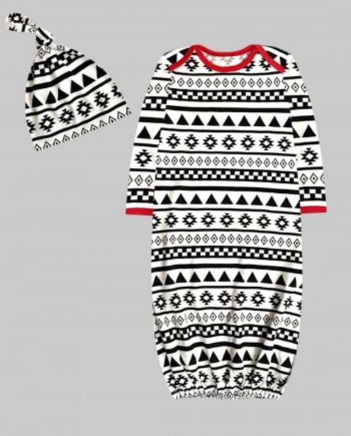 Black Aztec Print Unisex Gown with Knot Hat Set offer at ? 599