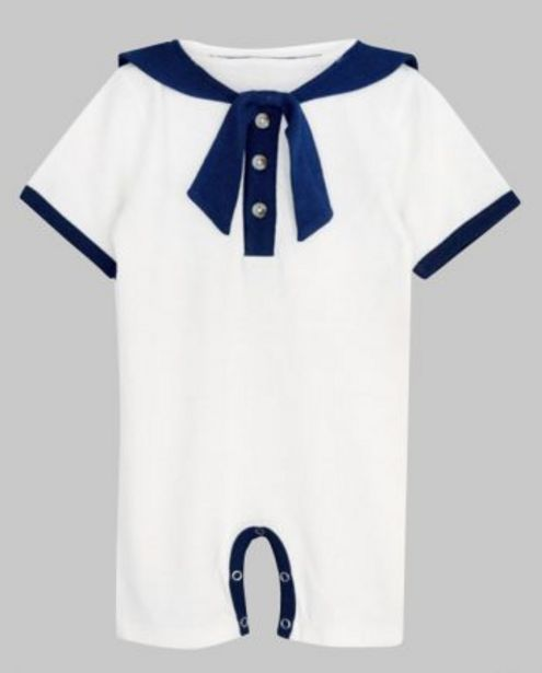 White with Navy Binding Sailor Romper offer at ? 400